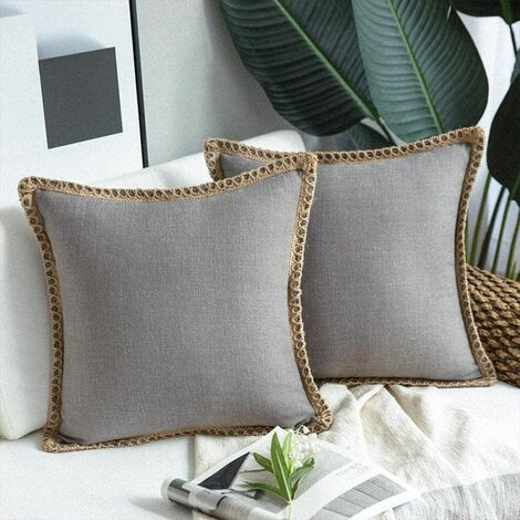 2 Pieces Decorative Cushion Covers Linen Pillow Case Dark Gray Cotton Sofa Cushion Cover for Bedroom Living Room Office Car Sofa 45X45Cm (without Pillow Core)