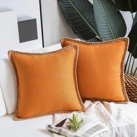 2 Pieces Decorative Cushion Covers Linen Pillow Case Orange Cotton Linen Sofa Cushion Cover for Bedroom Living Room Office Car Sofa 45X45Cm (without Pillow Core)