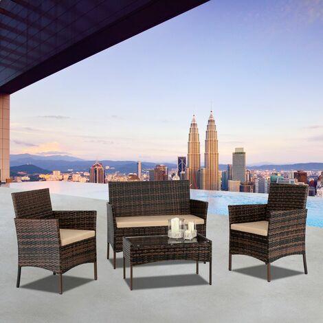 2 pièces fauteuils 1pc siège d'amour et table basse en verre trempé ensemble de canapé en rotin dégradé brun