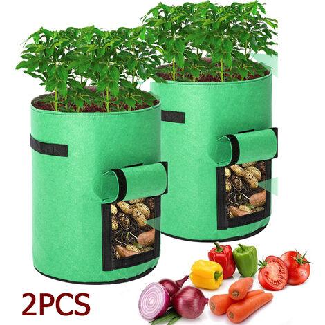 2 pièces jardin patate douce pomme de terre sac de plantation sac de culture sac de plante beauté sac de plantation plantation d'arbre sac de croissance des plantes sac de pomme de terre 8 gallons 43L