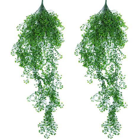 2 Pièces Plante Artificielle Suspendue, Fougère Plantes Artificielles Artificielles Suspendues, Plante Suspendue Plante Artificielle Plantes en Plastique, Plantes Vertes Artificielles en Plastique