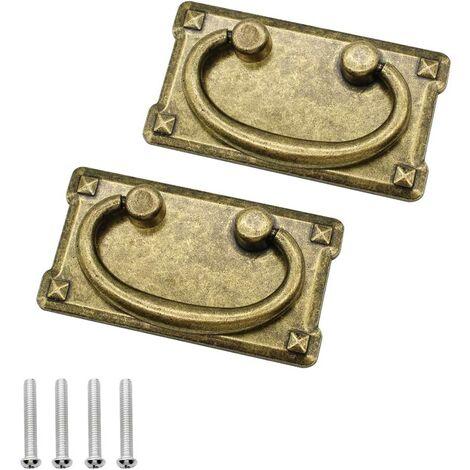 2 Pièces Rétro Bronze Armoire Tiroir Poignées Cuisine Meubles Boutons pour Armoire Tiroirs Commode Armoire Apothicaire Armoire