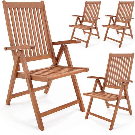 2 Pieces Set Foldable Garden Chairs Vanamo - Eucalyptus Wood Outdoor Furniture 4 Pcs Set