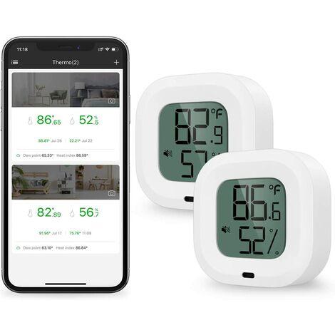 2 Pièces Thermomètre Hygromètre Bluetooth, Capteur de Température D'humidité avec Exportation de Données pour iOS Android, D'alarme, pour Maison, Étui à Guitare, Cave à Cigare, Cadeau Noel