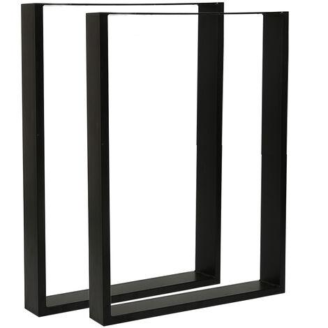 2 Pieds de table en acier vernis format rectangulaire 60x72cm, Pieds pour meubles, Pieds de table métal - Noir