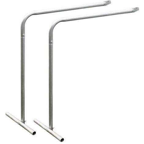 2 pieds pour étagère de serre jardin - Gris - 60 cm