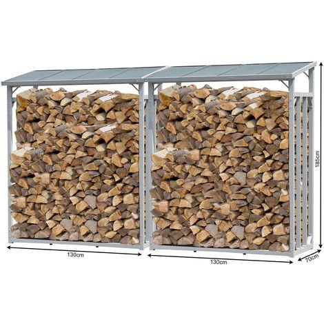 2 piezas Aluminio Chimenea Madera Estante 130 x 70 x 185 cm Jardín Prinidor Refugio de 1,6 m³ de Madera Almacenamiento apilables Ayuda Exterior