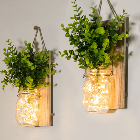2 piezas de cristal colgante tarros de albanil del LED Luz de Navidad colgar de la pared de la planta de plestico Iluminacion para el hogar con pilas decorativa de interior luces de cadena, tipo 1