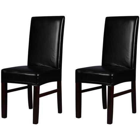 2 piezas de cuero de PU de una pieza fundas de asiento trasero de silla de comedor estirable,Negro