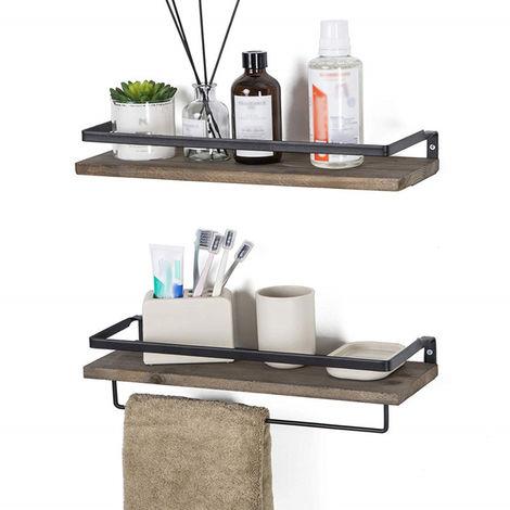 2 piezas de estantes de pared flotante de madera para sala de estar, dormitorio, oficina o cocina marrón