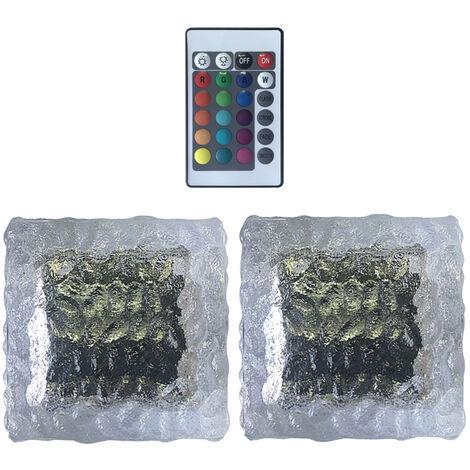 2 piezas de LED solar de cristal Luz de ladrillo de 16 colores RGB del cubo de hielo al aire libre formada Luz de grama a prueba de agua del azulejo del paisaje Lampara de pie cuadrado de metro de la lampara con control remoto, 2pcs