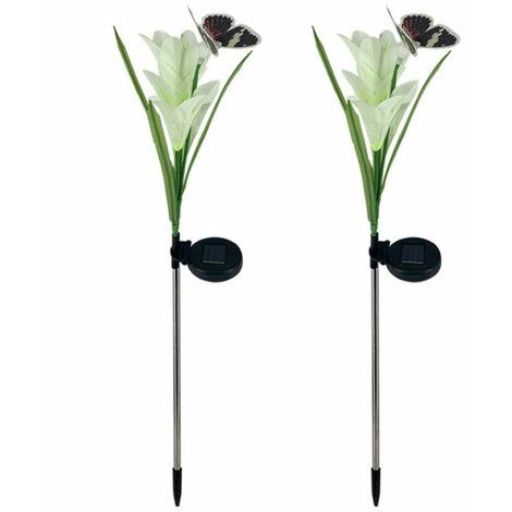 2 piezas de luces solares de flores de lirio, lampara de estaca para decoracion de jardin,blanco