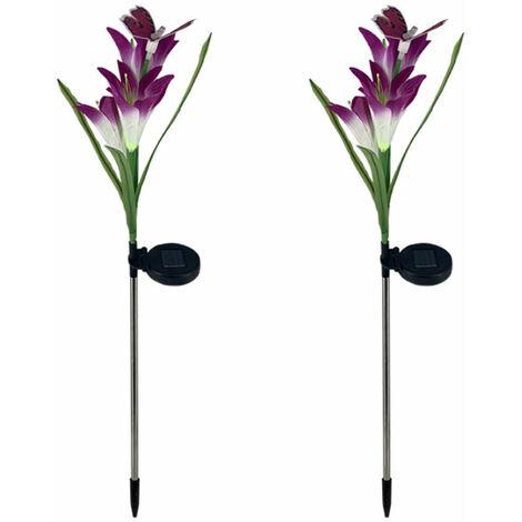 2 piezas de luces solares de flores de lirio, lampara de estaca para decoracion de jardin,Purpura