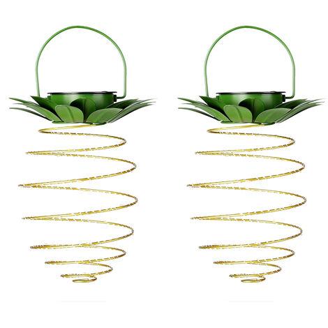 2 piezas de pina en forma de luces solares colgante al aire libre 60LED pina Patio de Luces solar impermeable luz de la linterna de jardin del cesped del patio trasero de la decoracion blanco calido, 2 piezas