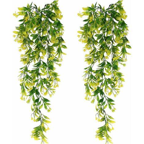 2 piezas de plantas colgantes verdes artificiales de hiedra artificial para celebración, boda, cocina, jardín, decoración de oficina, amarillo