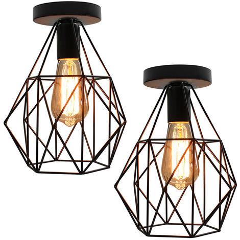 2 piezas Lámpara Colgante de Hierro Industrial de Lámpara de Techo de Jaula de Diamantes Lámpara de Araña Retro para Cafe Bar Office Dormitorio E27 Negro