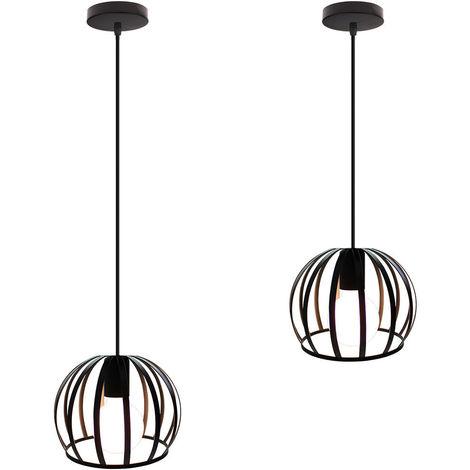 2 piezas Lámpara Colgante Industrial Redonda Vintage Cable Lámpara de Techo Ajustable Luz Colgante de Hierro de Metal para Cocina Pasillo de la Casa Interior Negro