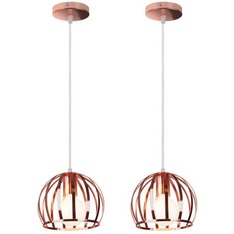 2 piezas Lámpara Colgante Industrial Redonda Vintage Cable Lámpara de Techo Ajustable Luz Colgante de Hierro de Metal para Cocina Pasillo de la Casa Interior Oro Rosa