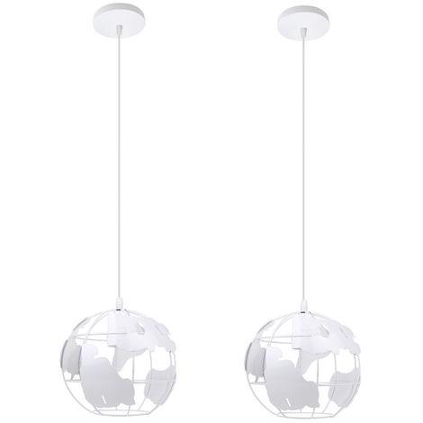 2 piezas Lámpara de Forma de Globo Vintage Lámpara de Techo de Metal Creativo Luz de Techo Industrial para Dormitorio Cafe Bar Blanco