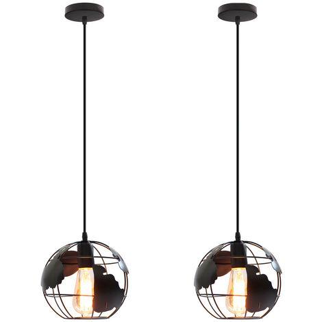 2 piezas Lámpara de Forma de Globo Vintage Lámpara de Techo de Metal Creativo Luz de Techo Industrial para Dormitorio Cafe Bar Negro