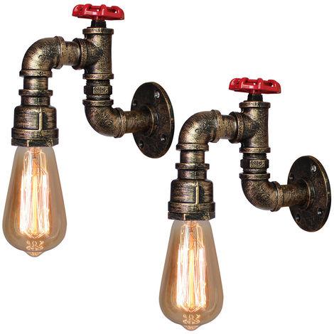 2 piezas Lámpara de Pared Creativa de Tubería de Agua Lámpara de Araña de Metal Vintage luz de Pared Industrial para Sala de Estar Cocina Restaurante E27 60W Bronce