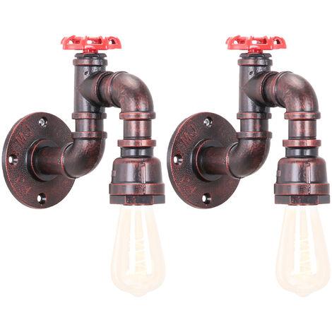 2 piezas Lámpara de Pared Creativa de Tubería de Agua Lámpara de Araña de Metal Vintage luz de Pared Industrial para Sala de Estar Cocina Restaurante E27 60W Cobre