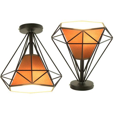 2 Piezas Lámpara de Techo Retro Vintage Nostalgia Lámpara de Techo Antigua Luz de Techo Industrial 25CM Diamante Marrón
