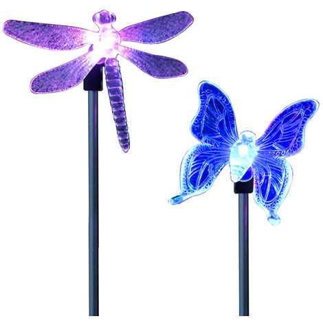 2 piezas, luz de estaca LED para jardin solar, mariposa, libelula