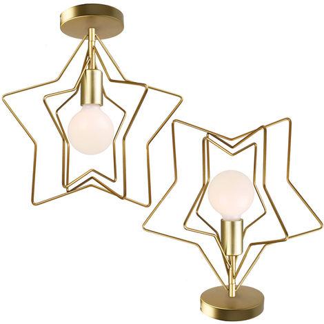 2 piezas Luz de Pared Rotativo Creativa Moderna Forma de Estrellas Lámpara de Araña Luz de Techo Nórdica Posmoderna para Bar Oficina Sala de Estar Café Oro