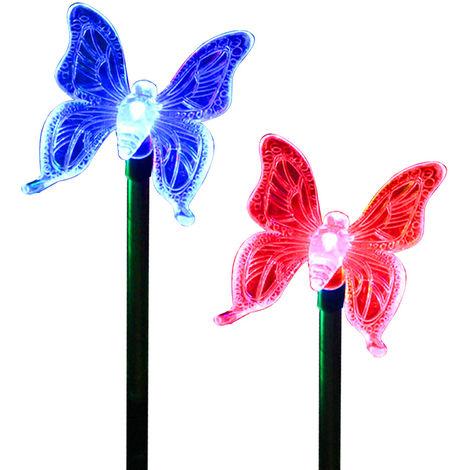 """main image of """"2 piezas, luz solar LED para jardin, luz de decoracion de jardin de mariposas"""""""