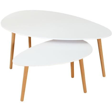 2 piezas, mesa de centro, blanca