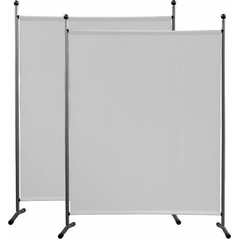 2 piezas Paravent 150 x 190 cm tela separador de ambientes partición jardín grande Biombo tabique balcón privacidad Blanco