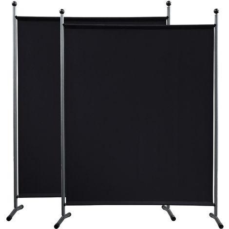 2 piezas Paravent 150 x 190 cm tela separador de ambientes partición jardín grande Biombo tabique balcón privacidad Negro