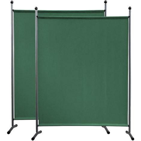 2 piezas Paravent 150 x 190 cm tela separador de ambientes partición jardín grande Biombo tabique balcón privacidad Verde