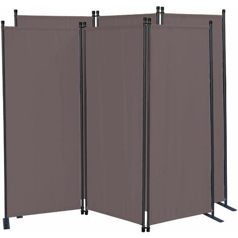 2 piezas Paravent 170 x 165 cm Tejido Divisor de habitación Jardín 3-Partición Pared de separación Plegable Balcón Pantalla de privacidad Gris Marrón
