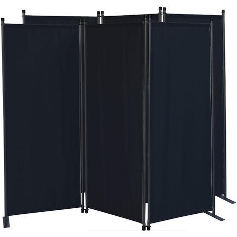 2 piezas Paravent 170 x 165 cm Tejido Divisor de habitación Jardín 3-Partición Pared de separación Plegable Balcón Pantalla de privacidad Negro