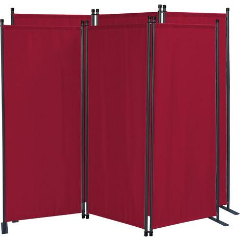 2 piezas Paravent 170 x 165 cm Tejido Divisor de habitación Jardín 3-Partición Pared de separación Plegable Balcón Pantalla de privacidad Rojo Rubí