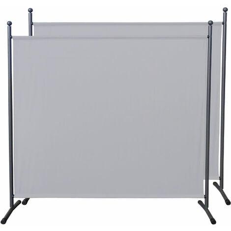 2 piezas Paravent 180 x 178 cm tela separador de ambientes partición jardín grande Biombo tabique balcón privacidad Blanco