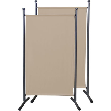2 piezas Paravent 180 x 78 cm tela separador de ambientes partición jardín grande Biombo tabique balcón privacidad Beige