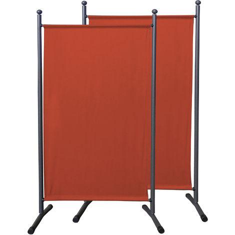 2 piezas Paravent 180 x 78 cm tela separador de ambientes partición jardín grande Biombo tabique balcón privacidad Rojo Naranja