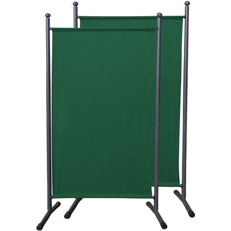 2 piezas Paravent 180 x 78 cm tela separador de ambientes partición jardín grande Biombo tabique balcón privacidad Verde