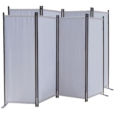 2 piezas Paravent 220 x 165 cm Tejido Divisor de habitación Jardín 4-Partición Pared de separación Plegable Balcón Pantalla de privacidad Blanco