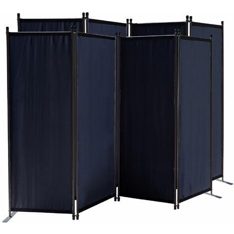 2 piezas Paravent 220 x 165 cm Tejido Divisor de habitación Jardín 4-Partición Pared de separación Plegable Balcón Pantalla de privacidad Negro