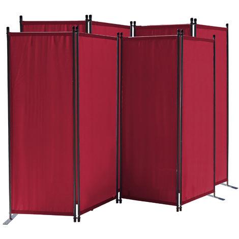 2 piezas Paravent 220 x 165 cm Tejido Divisor de habitación Jardín 4-Partición Pared de separación Plegable Balcón Pantalla de privacidad Rojo Rubí
