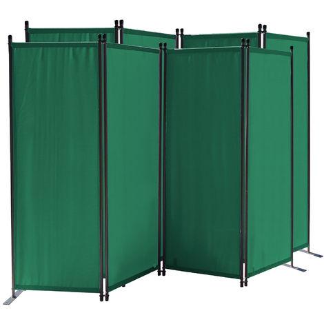 2 piezas Paravent 220 x 165 cm Tejido Divisor de habitación Jardín 4-Partición Pared de separación Plegable Balcón Pantalla de privacidad Verde