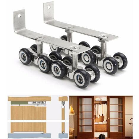 2 piezas puertas correderas de madera ruedas colgantes 8 ruedas perchas de armario material de rodillo