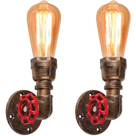 2 piezas Tubo de Agua Creativo Lámpara de Pared Lámpara de Techo Metal de Hierro Lámpara de Pared Clásica Antigua Óxido para Loft Office Cafe Luminaria Decorativa