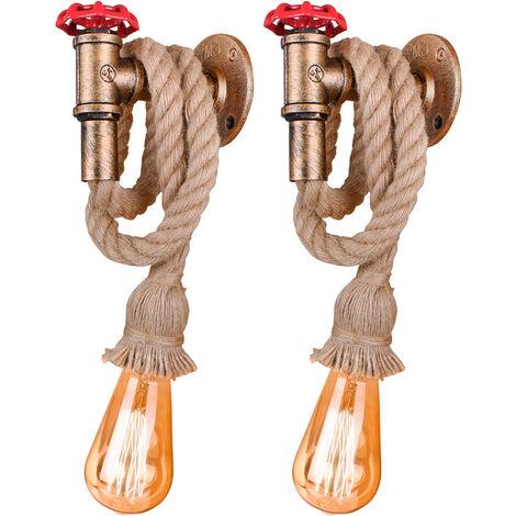 (2 Piezas)Aplique de Pared-Luz de Pared para Grifo, Lámpara de Pared de Cuerda de Cáñamo, Aplique de Pared Industrial Retro