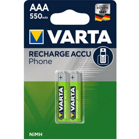 2 piles rechargeables AAA 550mAh Varta Accu Phone (58397101402)