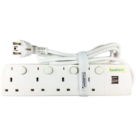 2 Pin Earthed Moulded Schuko Type F Plug, 4 UK Sockets, 2x2A USB, 1.5m Flex VDE & CE certified